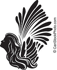 Winged muse face, symbol stencil for stickers, vinyl cutting