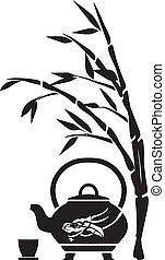 Chinese tea, teapot, cup and bamboo, black pattern