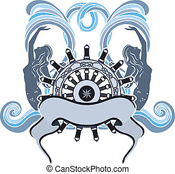 Sea symbol,wheel, mermaid in waves and ribbon colored...