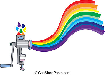 meat grinder creating a rainbow