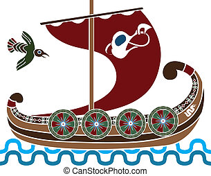 Ancient vikings ship with shields stencil second colored...
