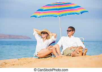 Couple Relaxing on Tropical Beach - Happy Romantic Middle...