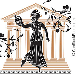 greek woman with amphora temple and olive branches...