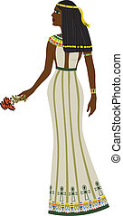 Ancient Egyptian woman full-length, color illustration