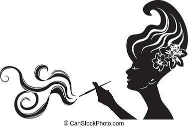 attractive smoking woman black stencil, cliche for sticker