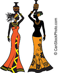 Beautiful African woman with vases