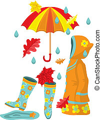 Colorful autumn set Rubber boots, raincoat, umbrella, leaves...
