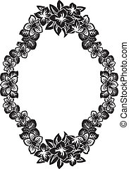 Ornate frame with flowers stencil