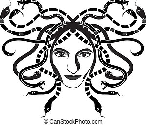 Medusa Gorgona head two-coloured stencil