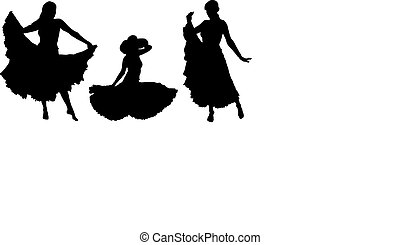 girl in gipsy skirt silhouettes set, sitting and dancing