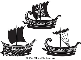 Ancient Greek ship set. stencil second variant