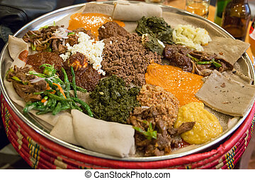 Injera be wot, traditional Ethiopian Food - Traditional...