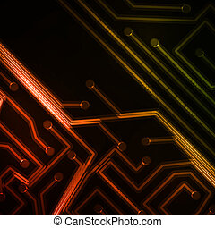 Neon circuit board - Neon circuit board, abstract technology...