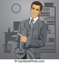 Business Man With Pointing Finger - Idea concept. Vector...