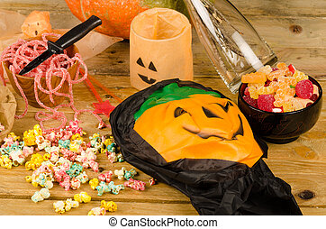 Trick or treat, a Halloween kid party still life