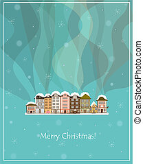 winter smoking country houses christmas card - winter...