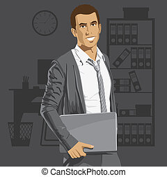 Vector Businessman With Laptop - Vector business man with...