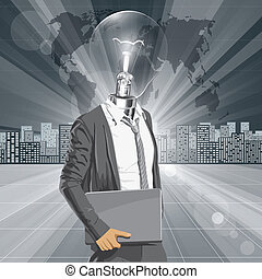 Lamp Head Man With Laptop - Vector Idea and concept. Lamp...