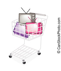 Colorful Retro Television in A Shopping Cart