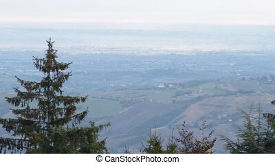 Po valley - overview of the fertile Po valley from the...