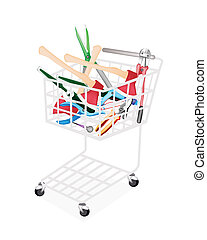 Various Craft Tools in A Shopping Cart - A Shopping Cart...