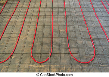 Hydronic Heating Pex Tubing - PEX tubing on a floor for...