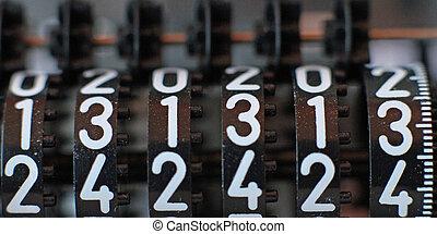 mostrador, todos, trece, números, secuencia