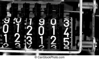 ancient electric energy meter with the number 2014 -...