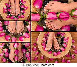 Spa - Being pampered in a spa with aromatic roses and herbal...