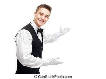 young happy smiling waiter gesturing welcome - Portrait of...