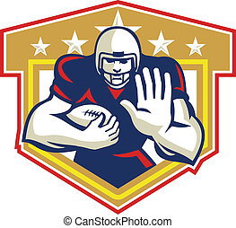 American Football Running Back Fending Shield - Illustration...
