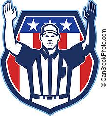 americano, futebol, oficial, árbitro, Touchdown