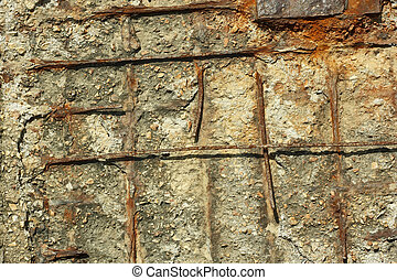 Rusty reinforced concrete structures - Fragment of old...