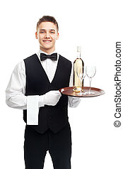 young waiter with bottle of white
