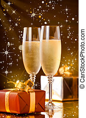 Christmas Champagne - Close up photograph of two fancy...