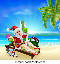 Christmas Santa Tropical Beach Scene - Christmas...