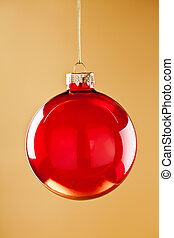 Red Glass Christmas Ball - Close up photograph of some...