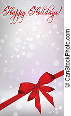 Vertical background with red ribbon bow