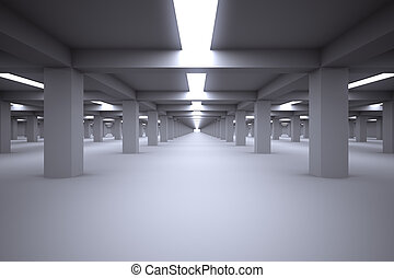 Underground parking without cars. - Underground parking with...