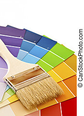 Paint brush with color cards - Clean paintbrush on rainbow...