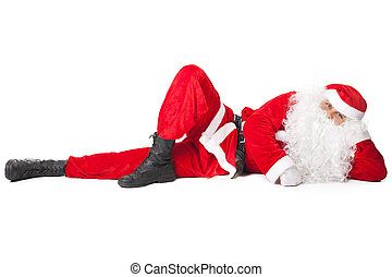 Santa Claus lying isolated on white background