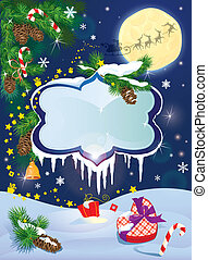 Christmas and New Year card with flying rein deers on sky background with glossy winter frames with snowdrifts and icicles, fir tree branches and presents.