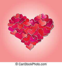 Valentine's day or Wedding background with Red hearts confetti in big heart shape.