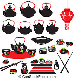 Set of asian food icons - teapot, sushi.