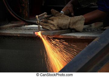 trabajador, soldadura, metal, fábrica