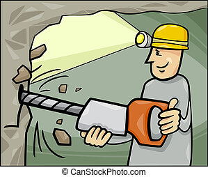 miner at work cartoon illustration - Cartoon Illustration of...