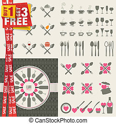 Set of vector icons for restaurant