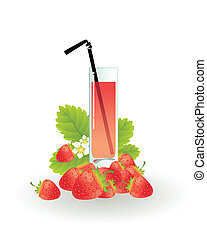 Glass of strawberry juice on a white background