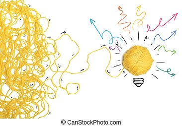 Idea and innovation concept with yellow ball
