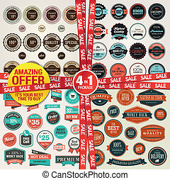 Set of badges and elements for sale - Set of labels,...